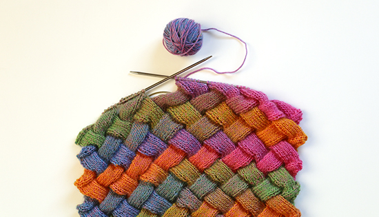Multicolored Entrelac Hand Knit Scarf in Progress