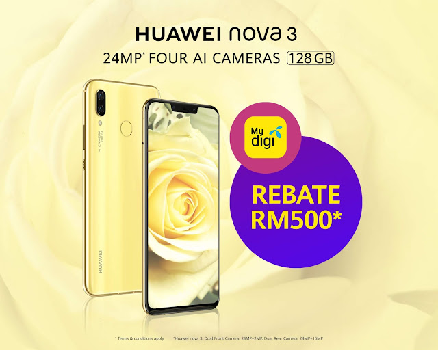 RM 500 off for Huawei Nova 3 Primrose Gold with Digi