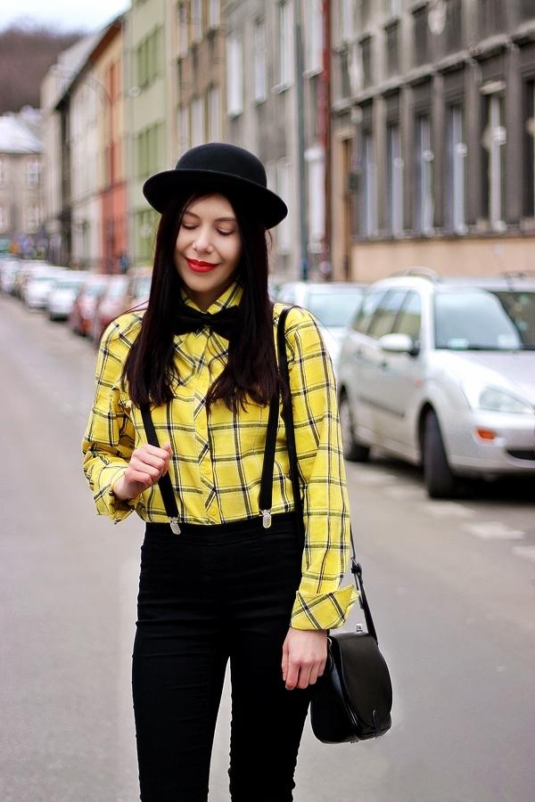 melonik mucha i szelki stylizacja damska Kraków melonik moda z Krakowa blogerka modowa Podgórze zdjęcia męski styl