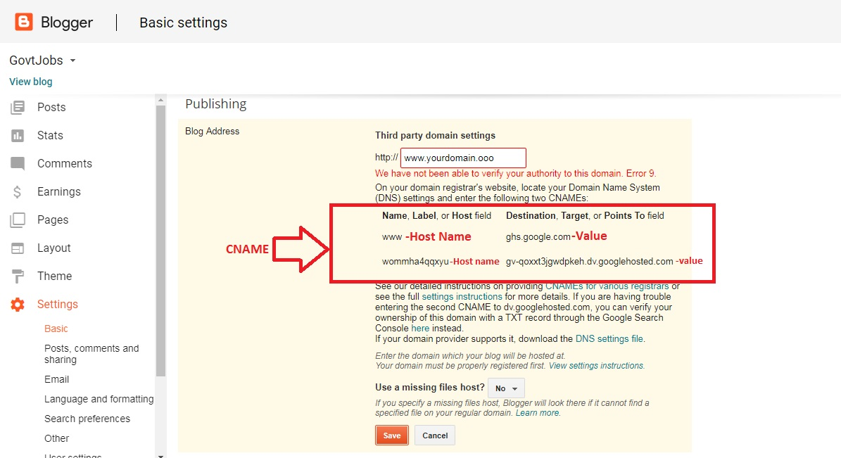 How to add .ooo domain to blogger ( easy steps with images )