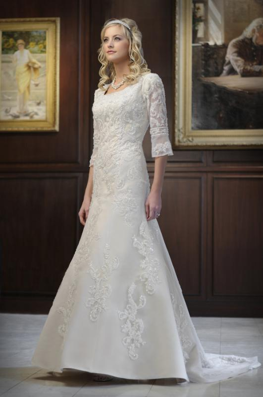 Dressybridal modest wedding gowns style to be elegant for Lds plus size wedding dresses