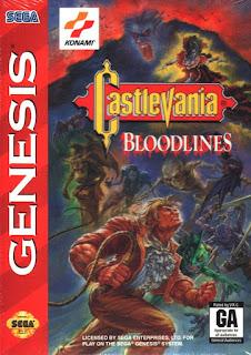 Portada del cartucho de Bloodlines para la Megadrive de Sega, Konami, 1994