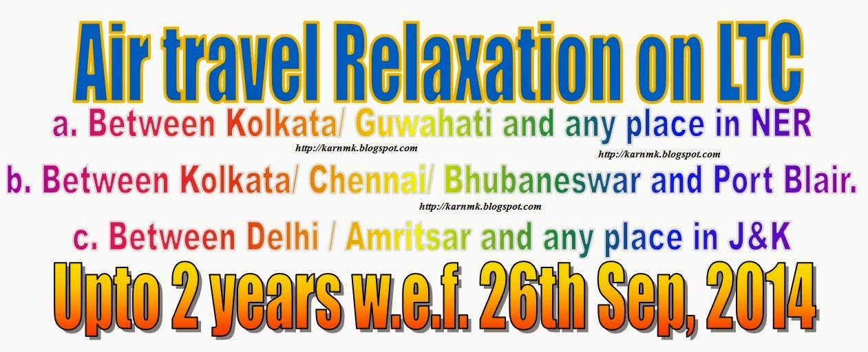 Relaxation to travel by air to visit NER and A&N for 2 years