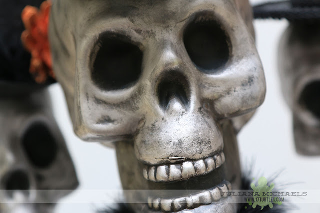 Dollar Tree Halloween Decor using Plastic Skulls by Juliana Michaels