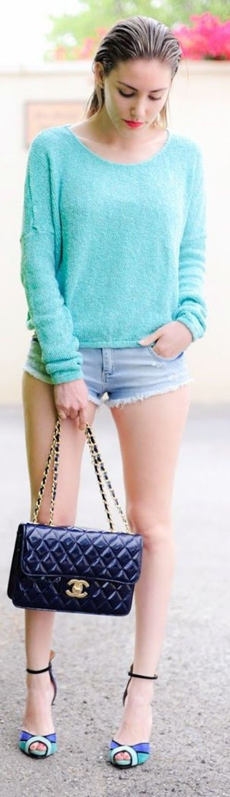 street style: blue shades with turquoise sweater and denim shorts