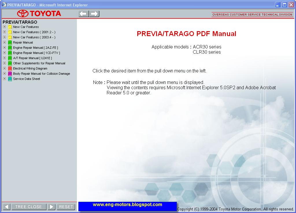 Toyota Previa    Tarago Workshop Service Repair Manual  8 2007