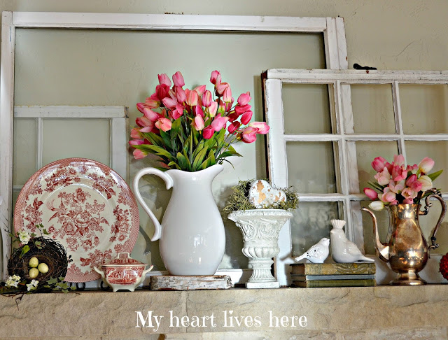 Transferware-Mantel Vignette-My Heart Lives Here-From My Front Porch To Yours- Treasure Hunt Thursday