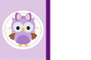 Etiquetas de Lechuza Púrpura  para imprimir gratis.