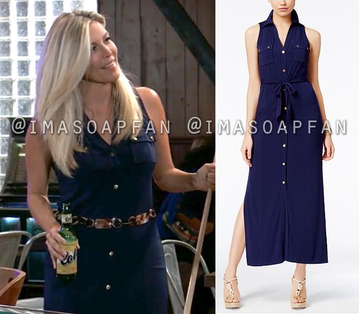 Carly Corinthos, Laura Wright, Navy Blue Maxi Shirtdress, General Hospital, GH