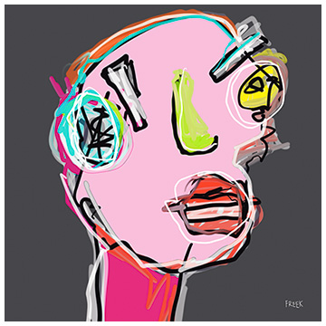 art prints, buy art prints, art print gallery, artist, abstract art prints, portrait art prints, grey and pink art prints, Sam Freek,