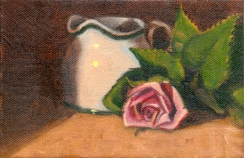 Oil painting of a white milk jug and a pink rose.