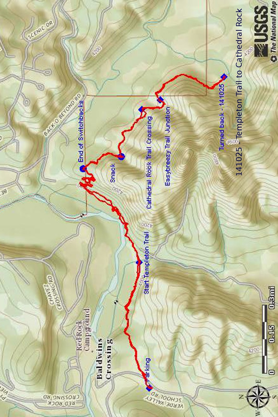our track is shown in red on the included map see next page