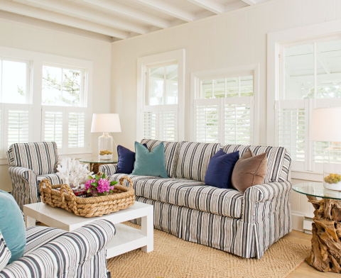 Blue Striped Slipcovered Sofa