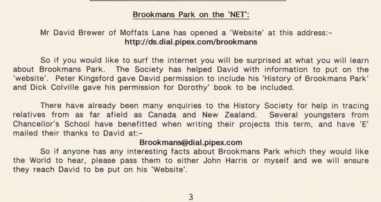 Screen grab of an early mention of the Brookmans Park Newsletter on page three of the North Mymms Local History Society newsletter of November 1998, written by Terry Pennell.