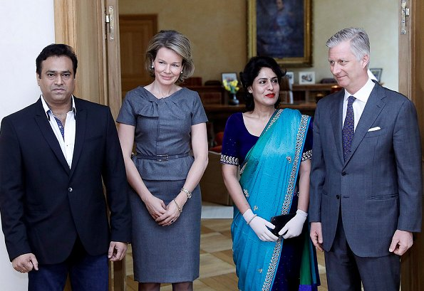 Queen Mathilde and King Philippe met with Nidhi Chaphekar and her husband Rupesh at the Royal Palace in Brussels.  Indian airline Jet Airways