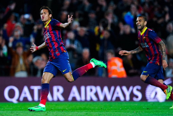 Barcelona player Neymar celebrates after scoring a goal against Rayo Vallecano