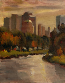 Oil painting of distant high-rise buildings with a tree-lined river in the foreground.