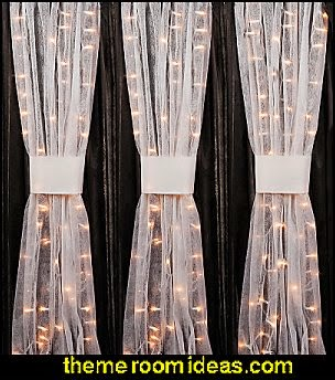 White Gossamer with lights Decorating Fabric for Your Wedding