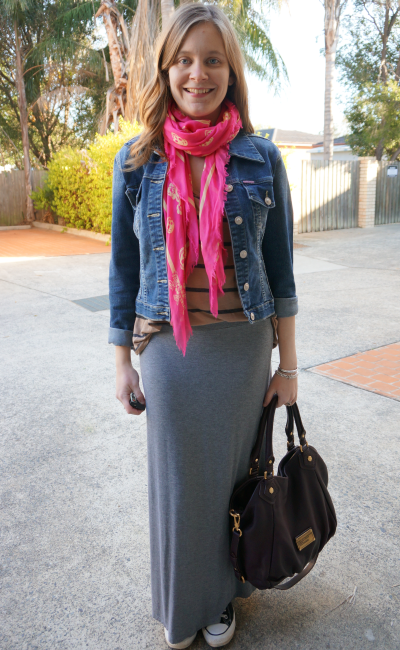 skull scarf, stripe top, denim jacket, maxi skirt and converse OOTD