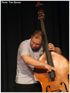 John Sims playing bass with Dan Trudell on piano at the 2016 Chicago Jazz Festival | Photograph by Tom Bowser