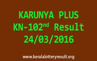KARUNYA PLUS KN 102 Lottery Result 24-3-2016