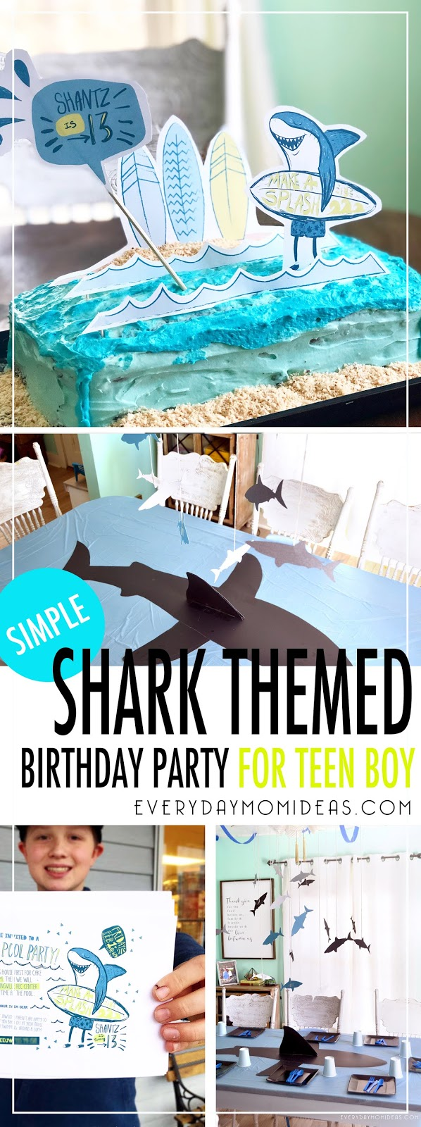 Teen Boy Surfer Shark Birthday Party (Simple Birthday Ideas With FREE Printables)