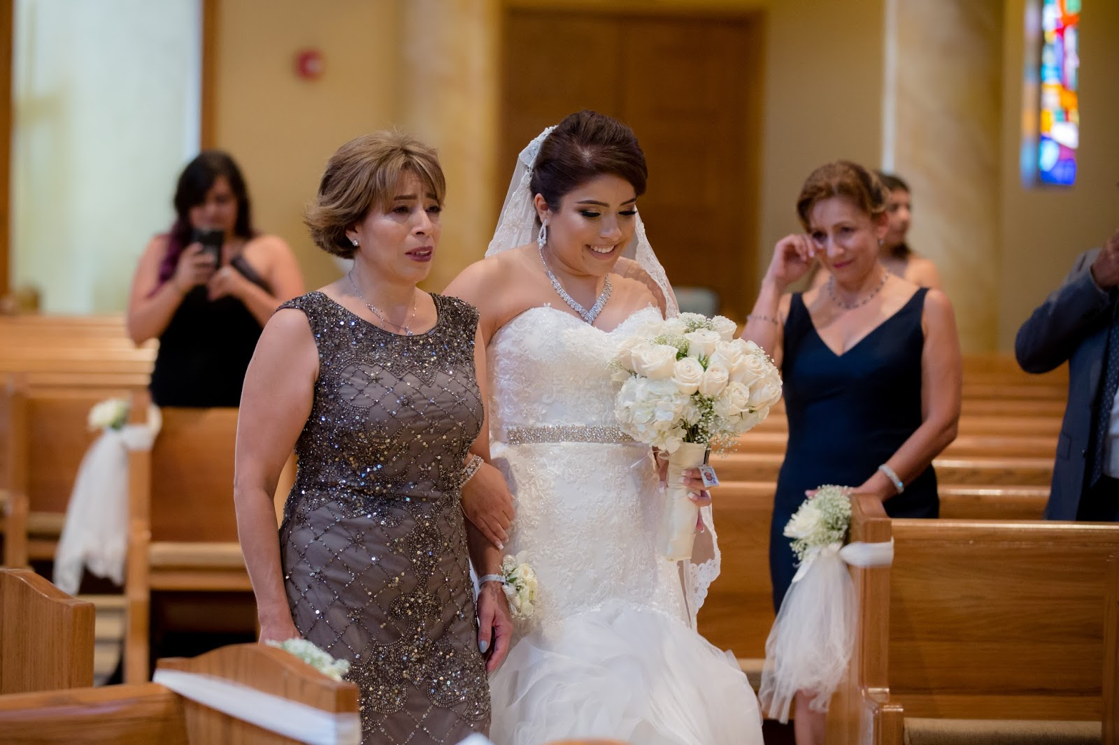 Mother of Bride Walks Bride Down the Aisle