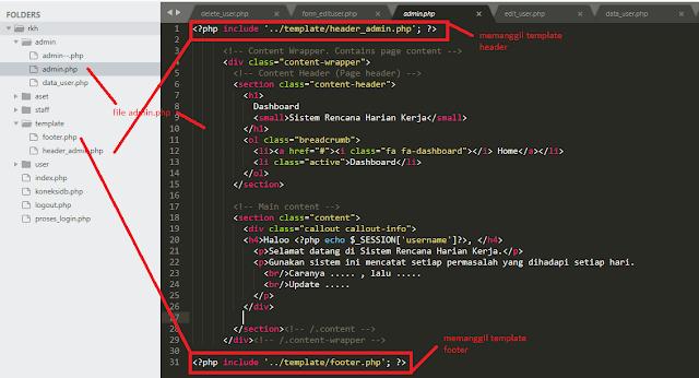 Cara Membagi Header, Main Content dan Footer di PHP