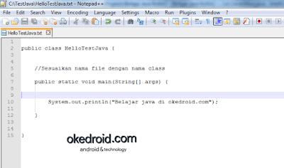 Menulis dan menjalankan baris code file java di Notepad ++