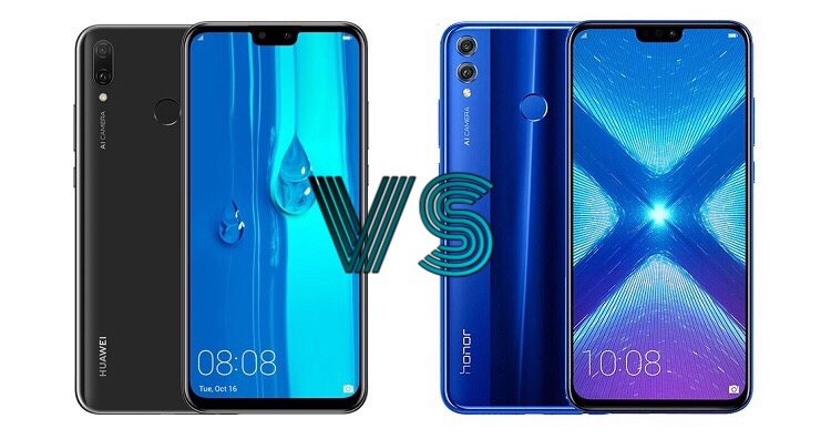 Huawei Y9 (2019) versus Honor 8X