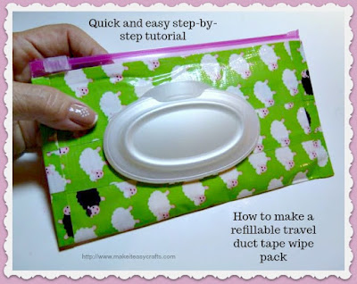 refillable travel duct tape wipe pack