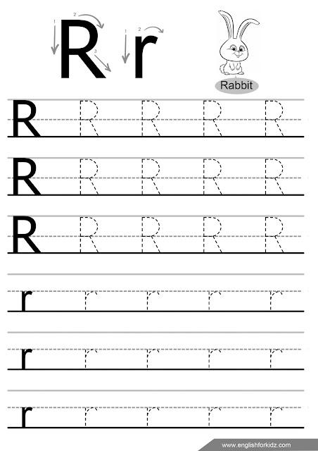 Letter R tracing worksheet for ESL students