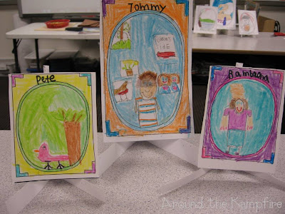 "Character portraits ""art galleries"" with character traits on the back of each ""canvas"" during our Tomie dePaola author study"