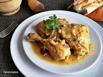 Como hacer pollo en pepitoria - Receta fácil paso a paso