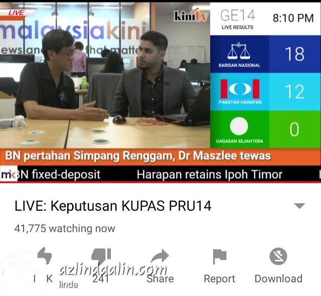 TENGOK RESULT PRU14 SECARA LIVE