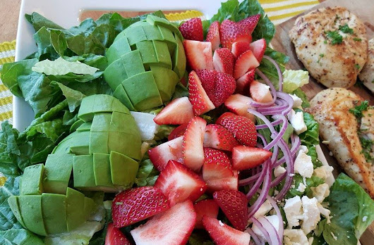 California Cobb Strawberry Salad with Lemon Pepper Chicken and Homemade Avocado Ranch Dressing