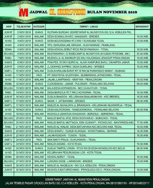 Jadwal Al Munsyidin Bulan November 2018