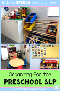 Are you looking to organize your room for drop in speech and language services for preschoolers?  Here are some tips of how I have organized and structured my room for the PreK crowd.  #prekslp #speechtherapy #preschool