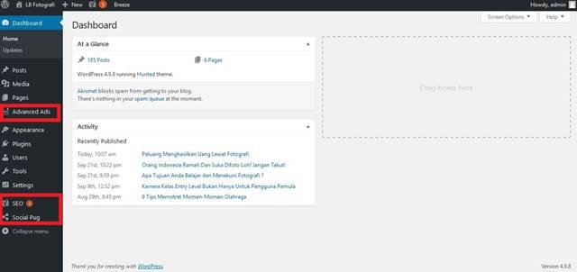 Seperti Apa Sih Tampilan Dashboard Wordpress Self Hosted?