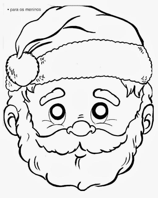 Máscara de Papai Noel e Mamãe Noel - Imprimir, recortar e pintar