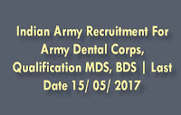 Indian Army Recruitment for Army Dental Corps