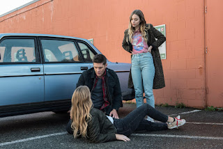 "Jordon Claire Robbins as Jamie Plum, Jensen Ackles as Dean Winchester, and Elise Gatien as Jennie Plum in Supernatural 13x12 ""Various and Sundry Villains"""