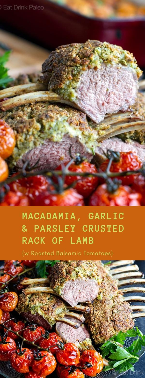 Macadamia, Garlic & Parsley Crusted Rack of Lamb (w Roasted Balsamic Tomatoes) #ROASTED #BALSAMIC #LAMB