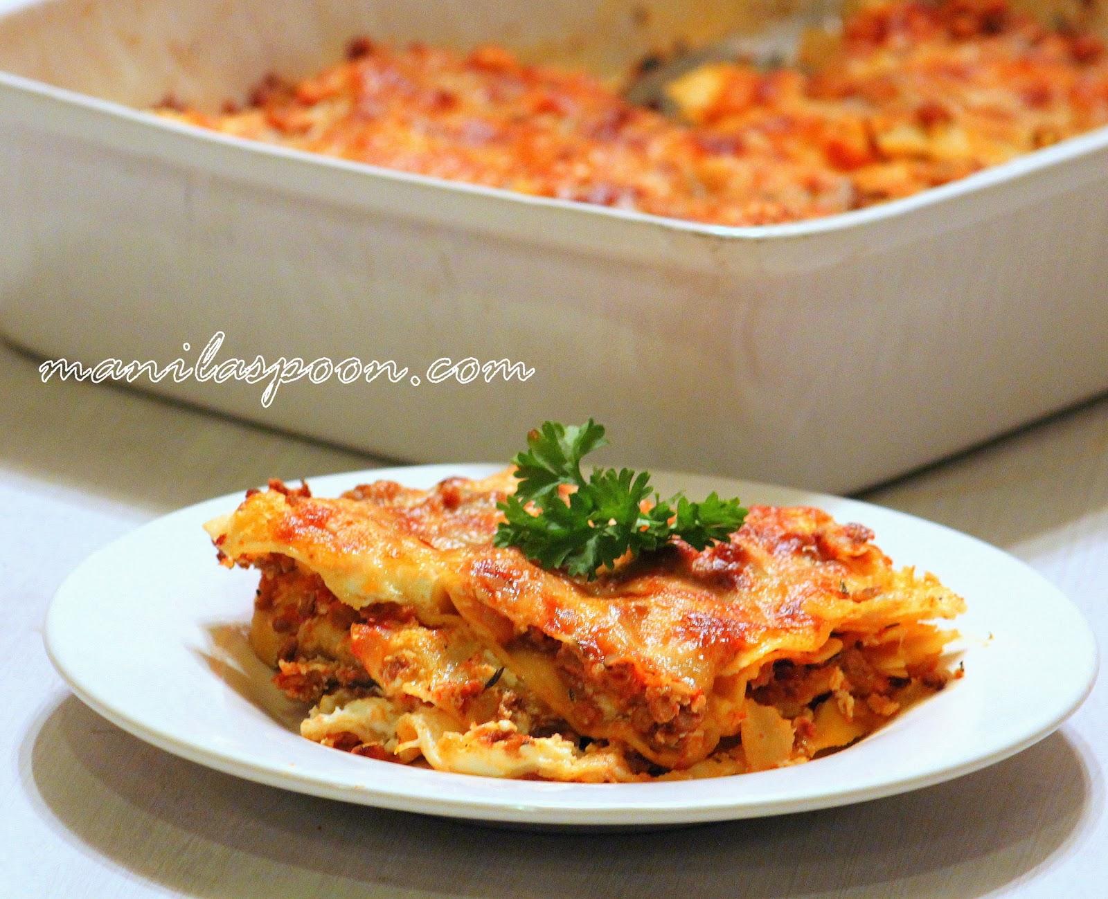 Creamy Beef And Italian Sausage Lasagna Manila Spoon
