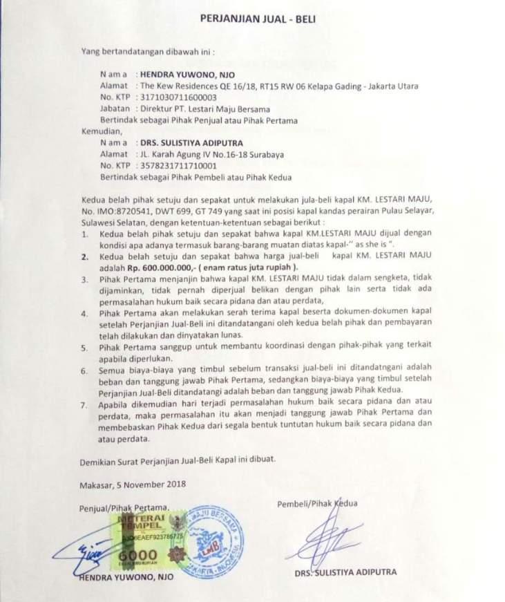 Dokumen Jual Beli Bangkai KM. Lestari Maju, Beredar di Medsos