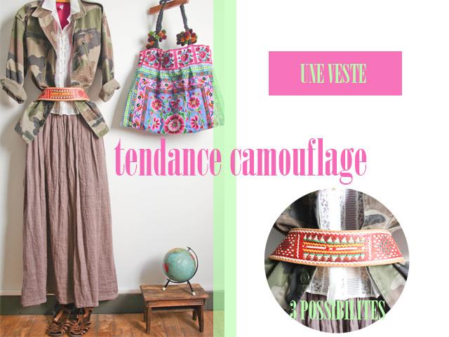 Look Veste camouflage femme