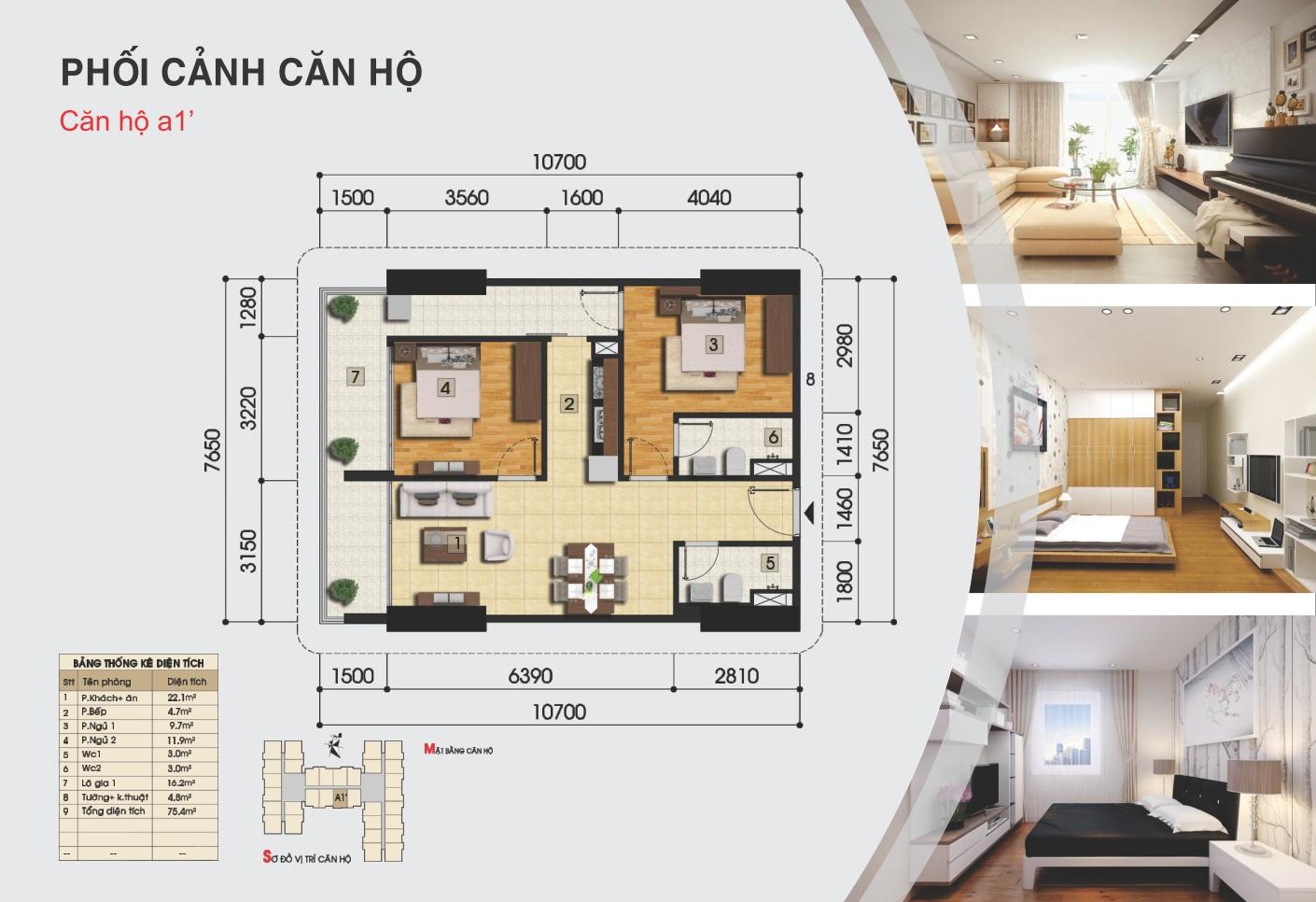 Thiết kế căn hộ A1' - Chung cư Gemek Premium