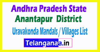 Uravakonda Mandal Villages Codes Anantapur District Andhra Pradesh State India