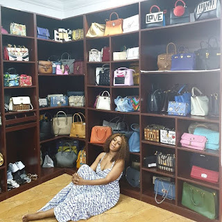 Linda Ikeji Shows Off Her Designer Bags In Her Closet (Photo)