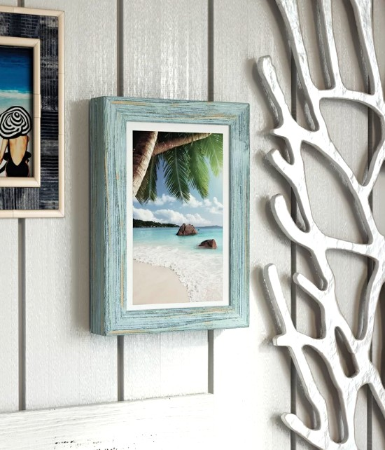 Beach Home Decor Ideas: Rustic Wood Beach Picture Frames Wall Decor Ideas